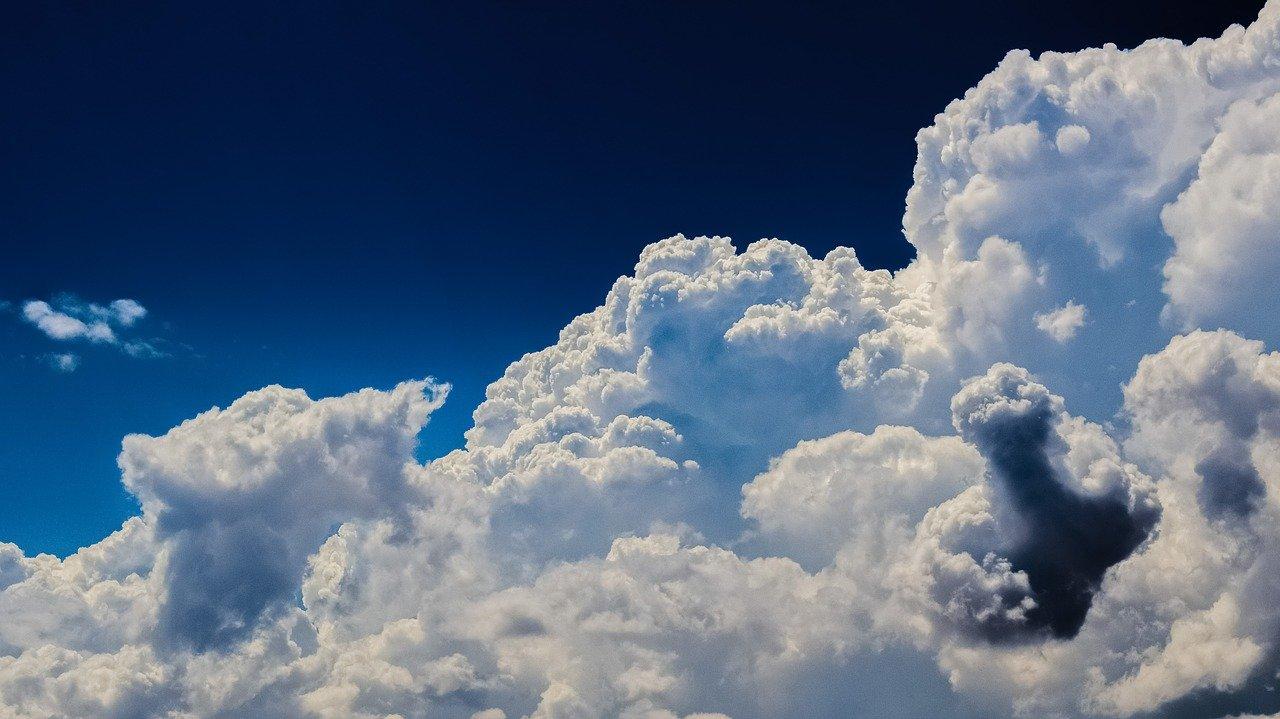 Cumulus clouds in the sunshine.