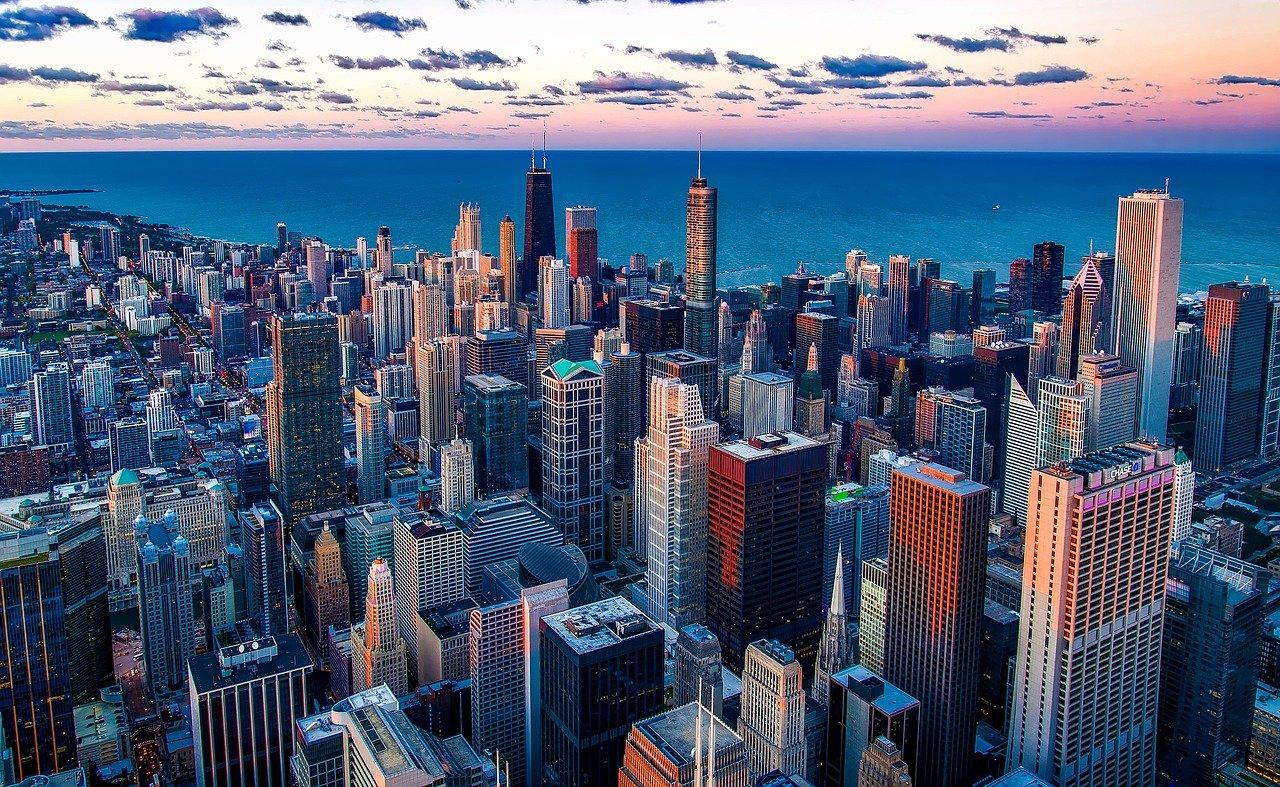 The Chicago skyline over Lake Michigan.